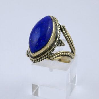 Bague Plaqué Or Lapis lazuli ovale
