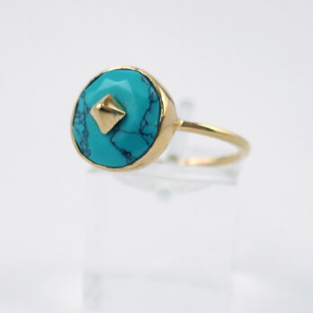 Bague Plaqué Or turquoise ronde