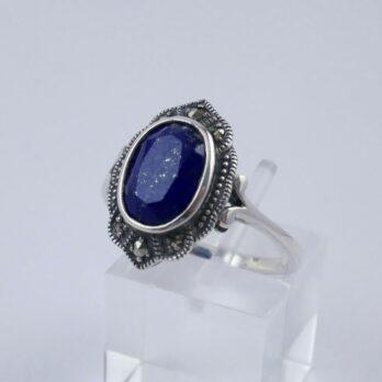 Bague Rétro Argent et Lapis Lazuli Ovale