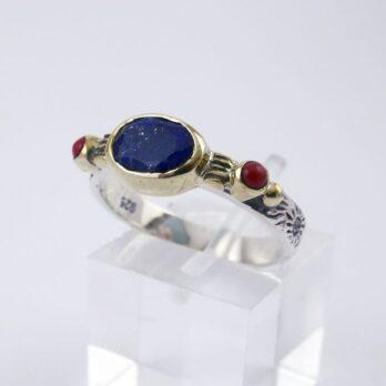 Bague Fine Lapis Lazuli  et Corail