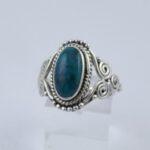 Bague Argent Turquoise Ethnique 3 Volutes