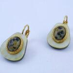 Boucles d'oreilles en Nacre et Jaspe Dalmatien