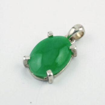 Pendentif Jade Argent Ovale