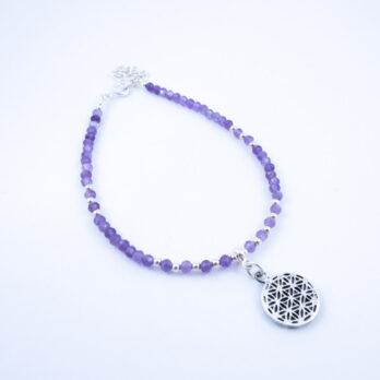 Bracelet en Améthyste Facettée et Fleur de Vie