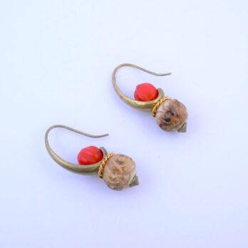 Boucles D'oreilles Crochet , Graine et Os